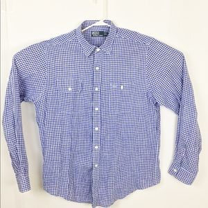 Polo Ralph Lauren Linen blue gingham shirt